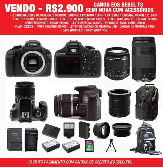 Canon Eos Rebel T3 C/ Lentes Acessórios Case Tripé
