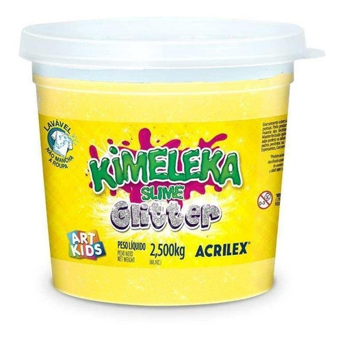Slime Kimeleca Com Glitter 2,5kg Amarelo Limão Acrilex