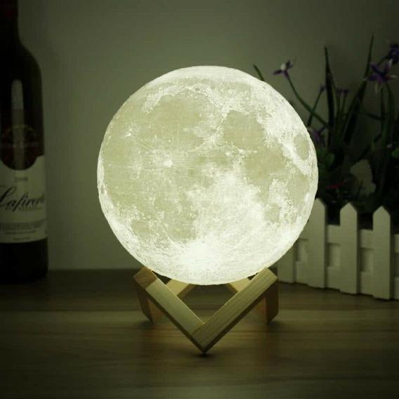 Luminária Lua Cheia 3d Duas Cores Usb Toutch Abajur Oferta