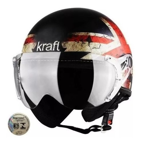 Capacete Moto Kraft Plus Inglaterra Custom Harley Dragstar