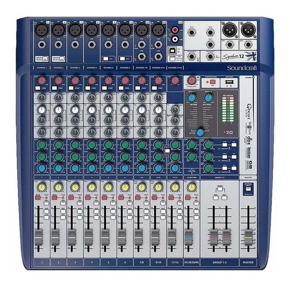 Mesa De Som 12 Canais Signature 12 Com Usb Soundcraft