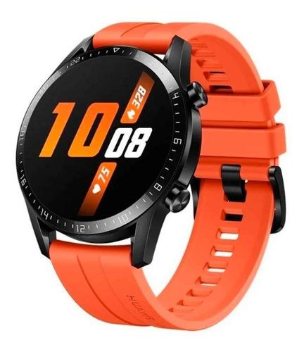 """Imagen 1 de 4 de Huawei Watch GT 2 Sport 1.39"""" caja 46mm de  metal y plástico  black malla  sunset orange de  fluoroelastómero LTN-B19"""