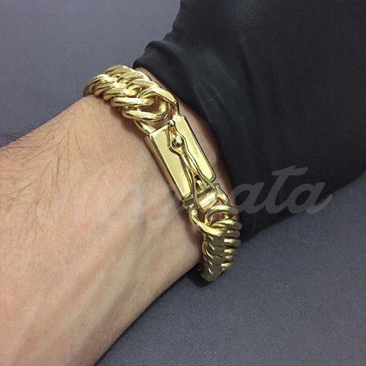 Pulseira Masculina Grumet Duplo 13mm Banhada A Ouro 18k