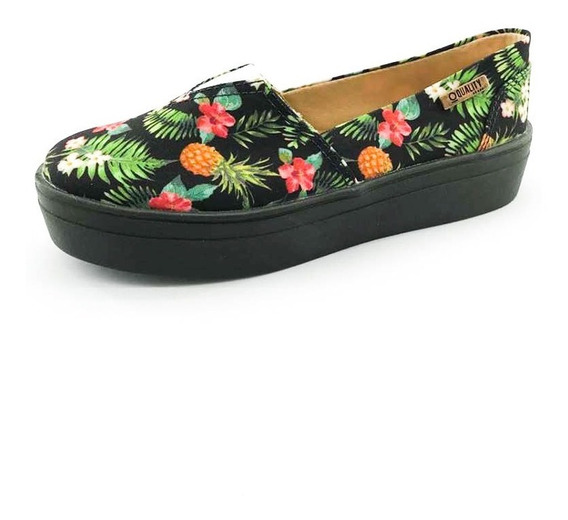 Tênis Flatform Quality Shoes Feminino 003 Abacaxi Preto Sola