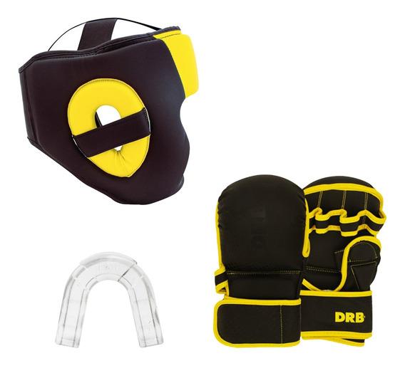 Combo Boxeo Guantes Entrenamiento-casco-protector Bucal Drb