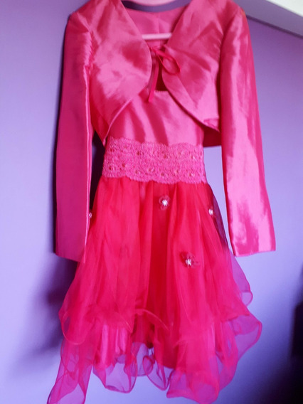 Vestido De Fiesta Fucsia + Chaqueta - Nenas - T.8