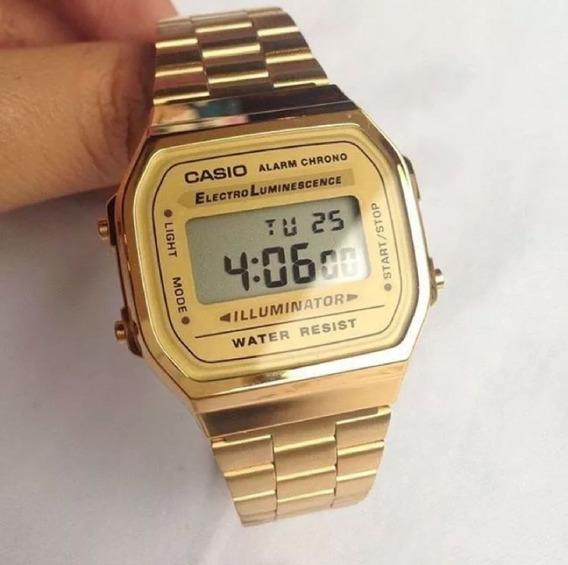 Relógio Casio Vintage; Aço Dourado Unissex Novo