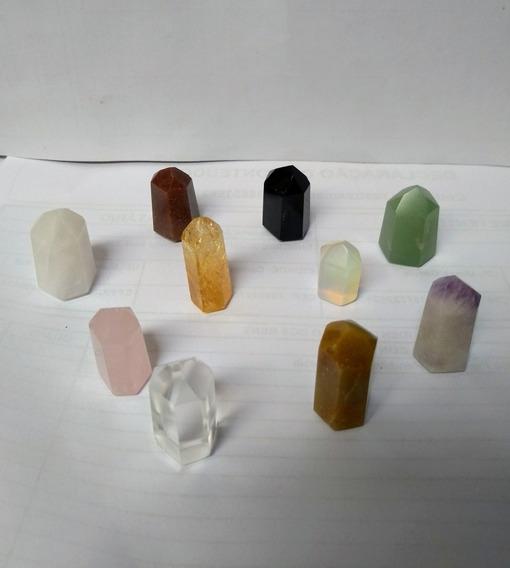 Kit 10 Pontas Obelisco Cristal Ametista Quartzo Obsidiana