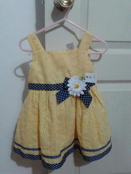 Vestido Amarillo Para Niña Talla 24 Meses Nuevo A Estrenar