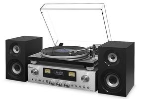 Toca Discos Vitrola Fm Cd Bivolt Reproduz Grava Receiver Aux