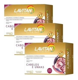 Lavitan Hair Cabelos E Unhas 60caps (3caixas 180caps Total)