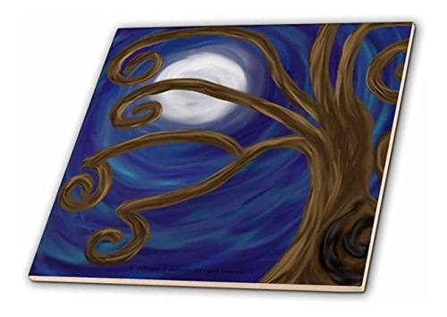 3drose Llc Espiral Arbol Resumen Luna Noche Arte Digital Azu