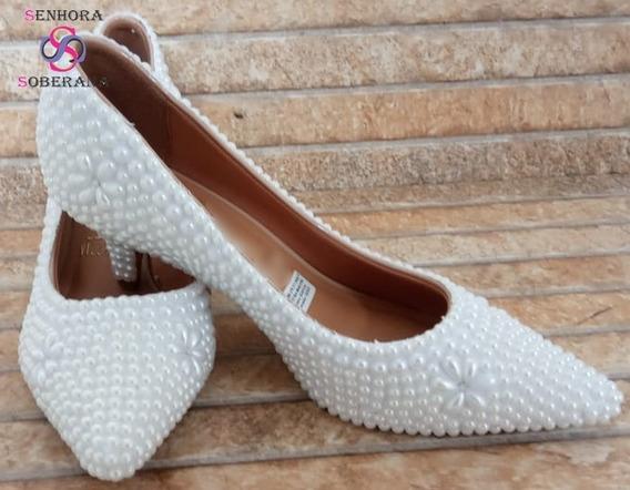 Sapato Scarpin Branco Perolado Luxo(debutantes)(noivas)