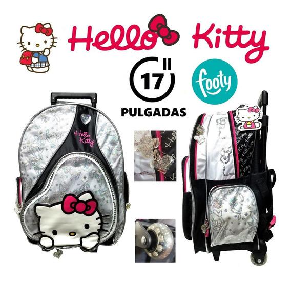 Mochila Hello Kitty Con Carrito 17 Pulgadas Footy Original