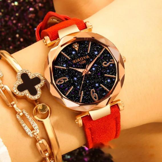 Relógios Feminino De Pulso Céu Estrelado +bracelete+caixinha