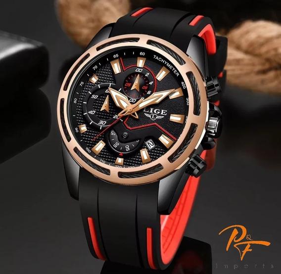 Relógio Lige 9957 Esportivo Luxo Masculino Aço Original
