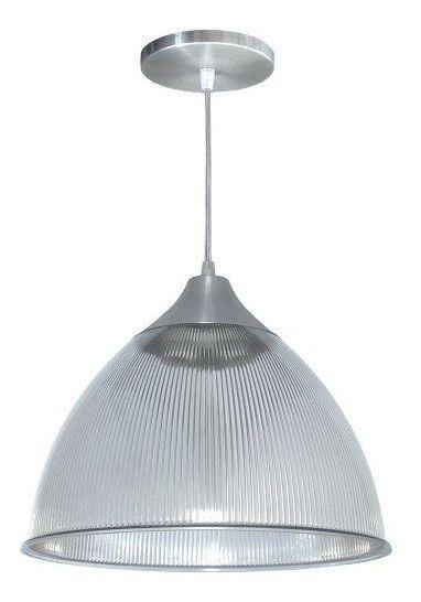 Lustre Luminária Pendente Utron Prismático 32cm Transparente