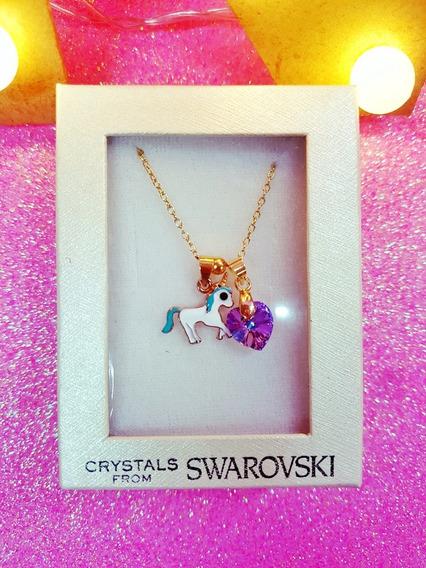 Unicornio Con Cristal Swarovski En Acero Oro Y Plata