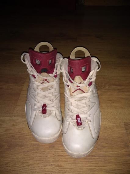 Zapatillas Nike Air Jordan 6 Retro Blancas Y Bordo C/ Nuev