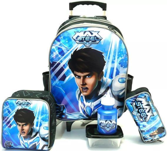 Kit Mochila Infantil Escolar Max Steel Lisa Azul Robô Rodinhas Tam G Lancheira F1