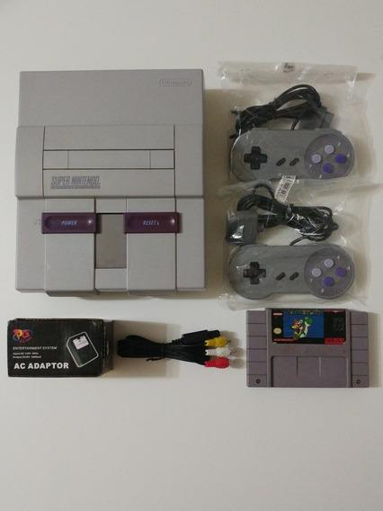 Super Nes Console + 2 Controles + Super Mario World Snes