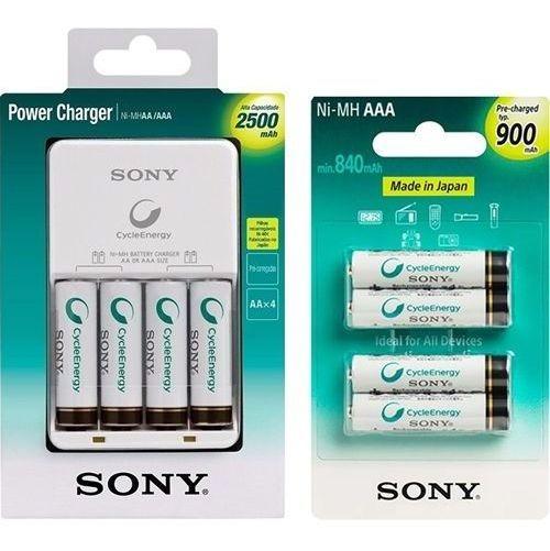 Carregador Sony C/4 Pilhas Aa+4pilhas Aaa Kit Recarregavel