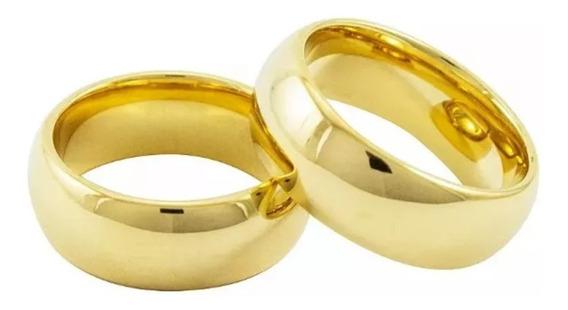 Alianças Avusas Tungstênio Folheado A Ouro 18k