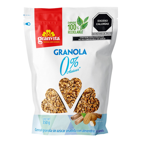 Imagen 1 de 2 de Granola Granvita 0% azúcar en bolsa 350g