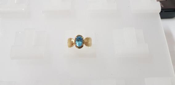 Anel Ouro Amarelo 18kilates 750 Pedra Topázio Azul