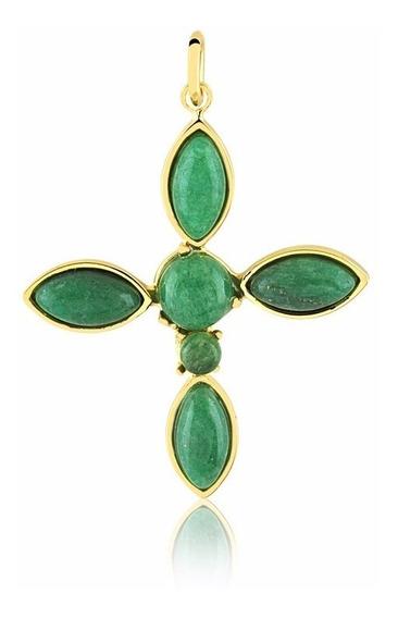 Pingente Semijoia Cruz Com Pedra Natural Quartzo Verde