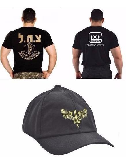 Boné Fab + Camiseta Glock Bordada + Camiseta Israel Defense