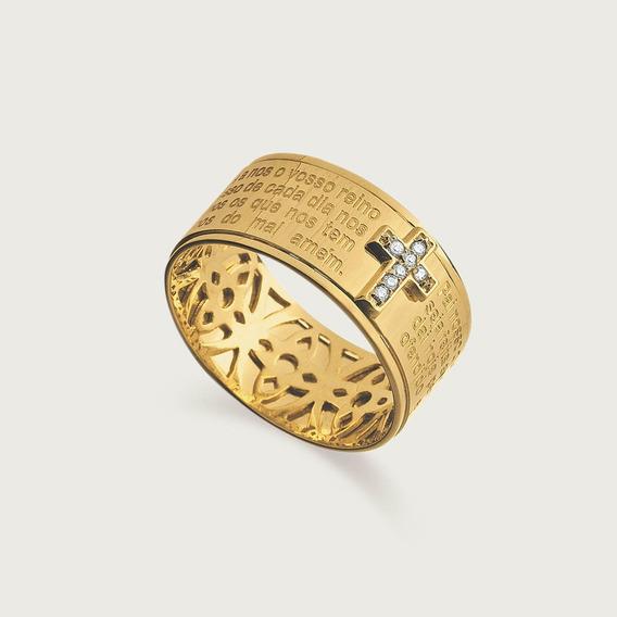 Anel Pai Nosso Lulean Em Ouro 18k (750) Com Diamantes