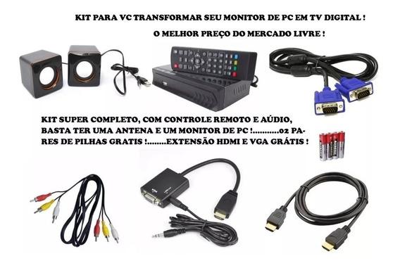 Transforme Monitor Vga Pc Em Tv Digital E Caixa Som E Brinde