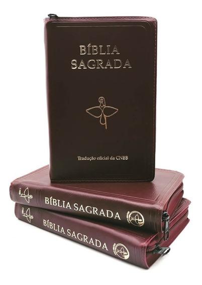Bíblia Sagrada Católica Cnbb Média Ziper Vinho Lançamento