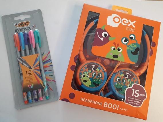 Fone De Ouvido Kids Oex + Bic Intensy Média 1.0mm - 5 Cores