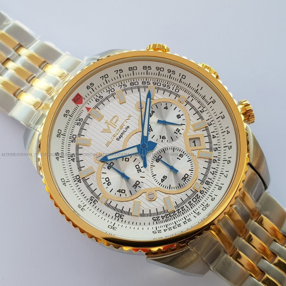 Relógio V I P Mh-8346 2 Cronógrafo Plaque Misto Calendário