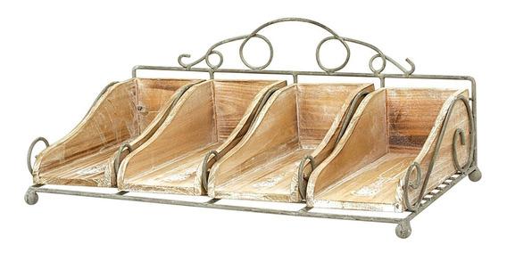 Porta Talheres De Metal Com Madeira - Incasa