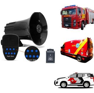 Sirene Automotiva 7 Tons Com Microfone Policia Ambulancia