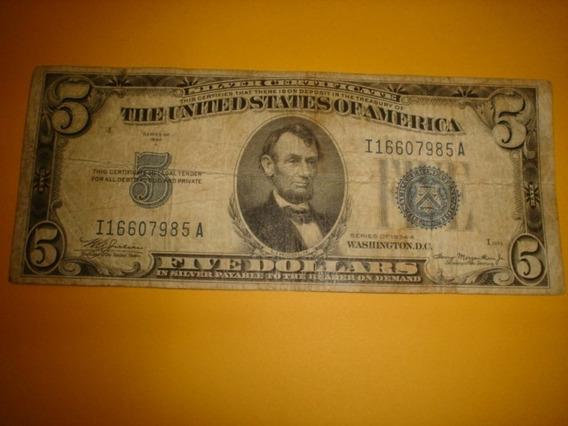 Cédula 5 Dolares 1934 - Sêlo Azul E Five Em Letras Grandes