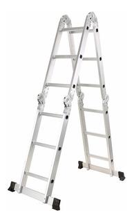 Escada Articulada Multifuncional 4 X 3 Em Alumínio 12 Degrau