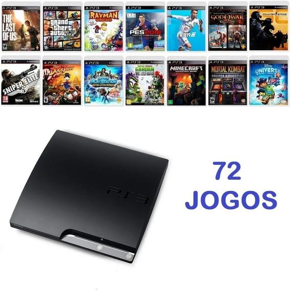 Playstation 3 Ps3 Slim + 72 Jogos Brinde