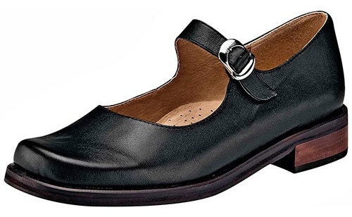 Viel Zapato Piso Piel Dama Negro Correa Escolta C59605 Udt