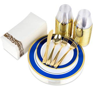 Juegos De Vajilla Con Borde Azul Y Dorado (servicio Para 25)