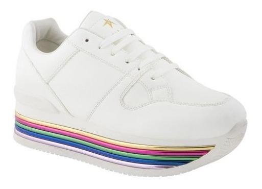 Tenis 858224 Sneakers Plataforma Franjas Cuñas Tacón Corrido