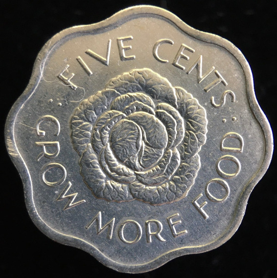 Seychelles Britanico, 5 Cents, 1972. Sin Circular