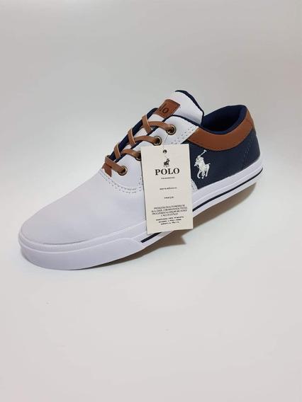 Zapatillas Polo Blancas Con Azul 41