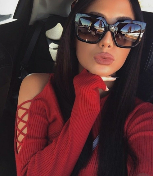 Óculos Feminino Tendencia Última Moda Quadrado Preto Barato