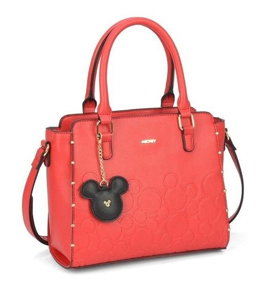 Bolsa Feminina Grande Mão Couro Sintético Vermelho Mickey