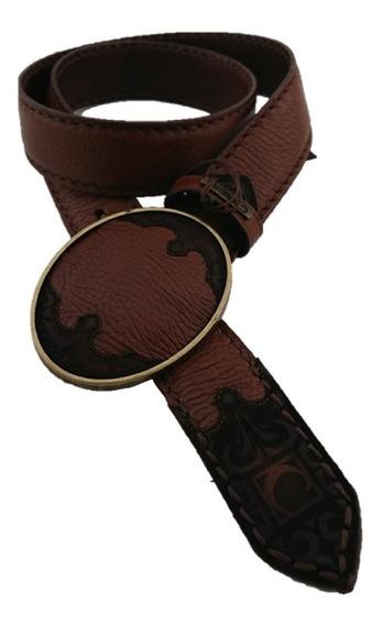 Cinturón Cuadra Hombre Piel Venado Color Miel Hebilla Metal