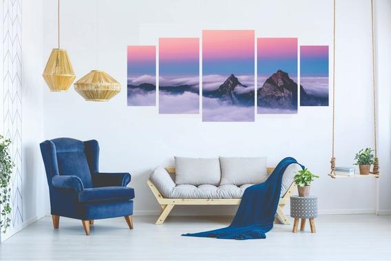 Kit Quadro Decorativo Sala Peças Mosaico Céu Nuvem Montanha